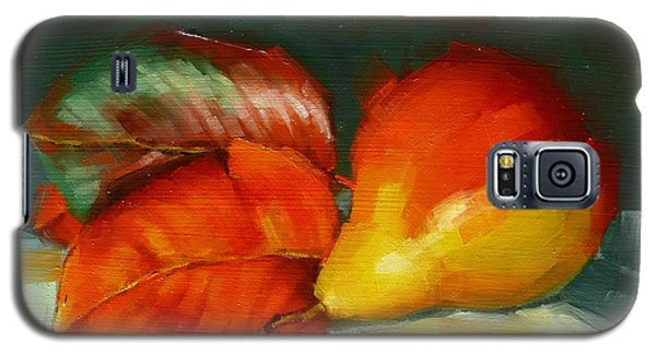 Galaxy S5 Case featuring the painting Autumn Pear Leaves And Fruit by Margaret Stockdale