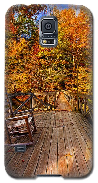 Autumn Rocking On Wooden Bridge Landscape Print Galaxy S5 Case