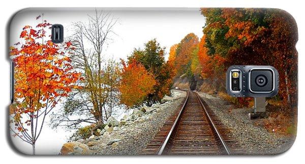 Galaxy S5 Case featuring the photograph Autumn Train Tracks by Karen Molenaar Terrell