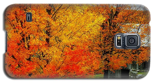 Galaxy S5 Case featuring the photograph Autumn Trees By Barn by Rodney Lee Williams