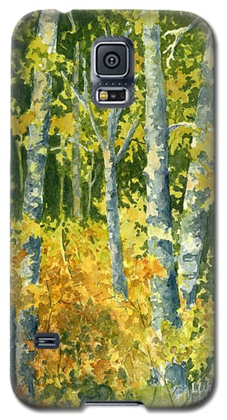 Galaxy S5 Case featuring the painting Autumn Woods by Lynne Wright