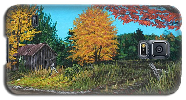 Galaxy S5 Case featuring the painting Autumns Rustic Path by Wendy Shoults