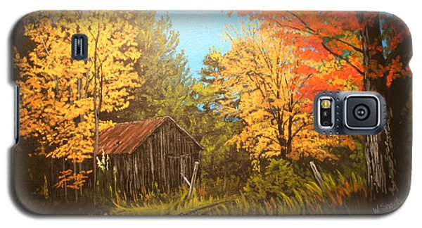 Galaxy S5 Case featuring the painting Autumns Rustic Road by Wendy Shoults