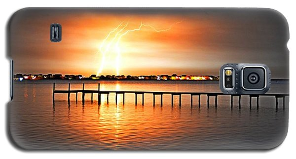 Galaxy S5 Case featuring the photograph Awesome Lightning Electrical Storm On Sound by Jeff at JSJ Photography