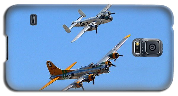 Galaxy S5 Case featuring the photograph B25 Mitchell And B17 Flying Fortress by Jeff Lowe