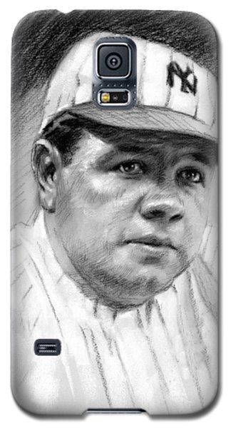 Galaxy S5 Case featuring the drawing Babe Ruth by Viola El