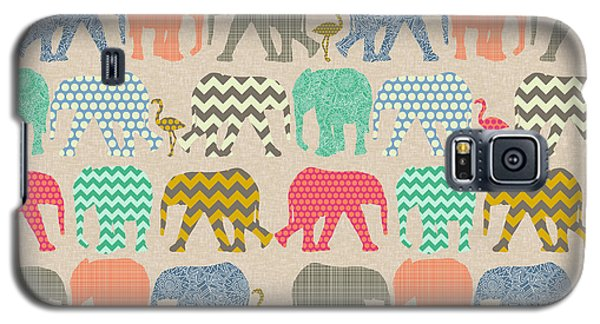 Baby Elephants And Flamingos Linen Galaxy S5 Case by Sharon Turner