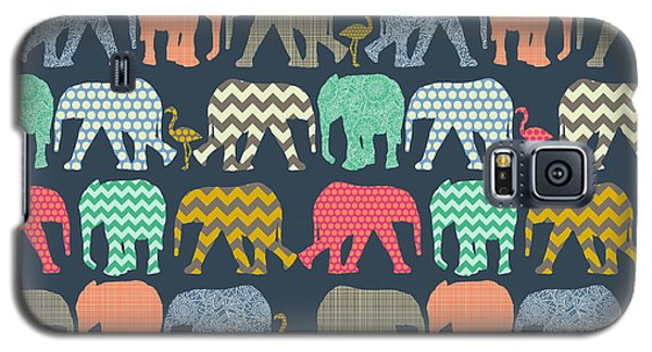 Baby Elephants And Flamingos Galaxy S5 Case by Sharon Turner