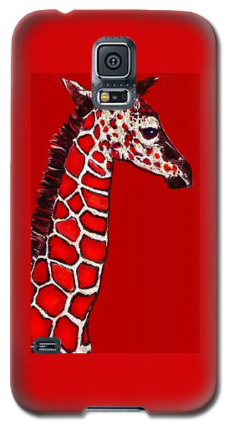 Baby Giraffe In Red Black And White Galaxy S5 Case