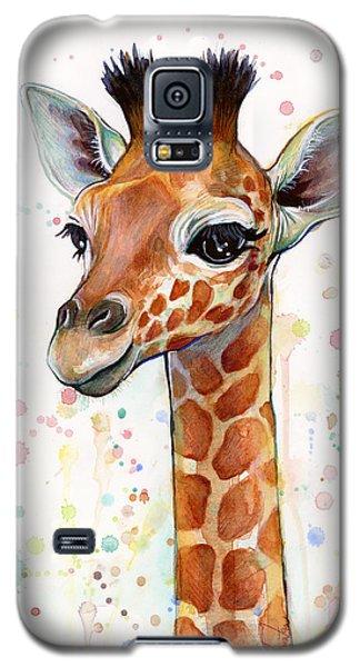 Baby Giraffe Watercolor  Galaxy S5 Case by Olga Shvartsur
