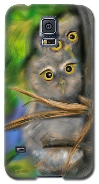 Galaxy S5 Case featuring the digital art Baby Owls by Christine Fournier