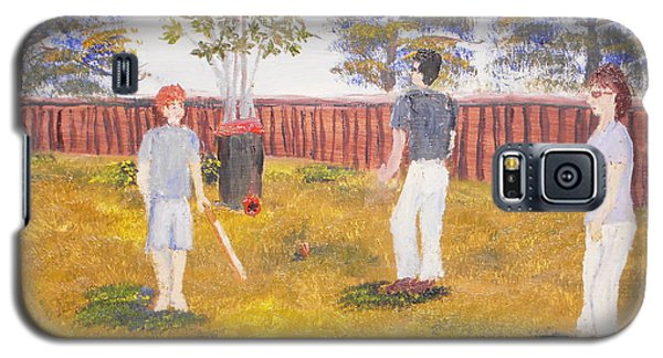 Galaxy S5 Case featuring the painting Backyard Cricket Under The Hot Australian Sun by Pamela  Meredith
