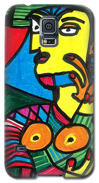 Galaxy S5 Case featuring the drawing Bagel Lady by Don Koester