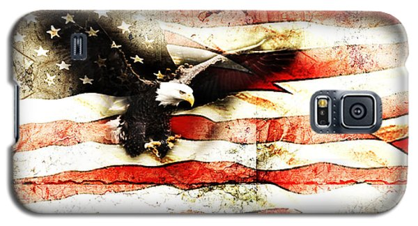 Galaxy S5 Case featuring the photograph Bald Eagle Bursting Thru Flag by Eleanor Abramson