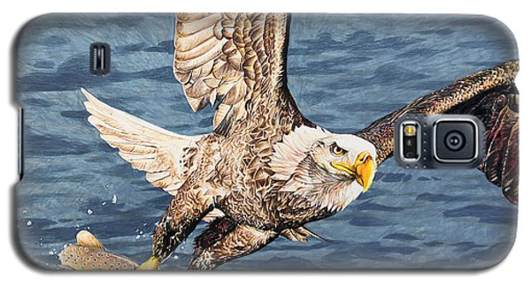 Galaxy S5 Case featuring the drawing Bald Eagle Fishing  by Aaron Spong