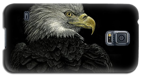 Galaxy S5 Case featuring the drawing American Bald Eagle by Sandra LaFaut