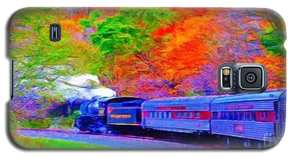 Galaxy S5 Case featuring the painting Bang Bang Choo Choo Train-a Dreamy Version Collection by Catherine Lott