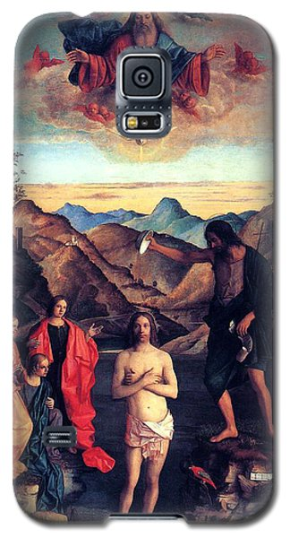 Galaxy S5 Case featuring the painting Baptism Of Christ With Saint John 1502 Giovanni Bellini by Karon Melillo DeVega