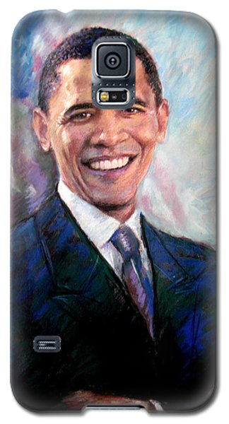 Galaxy S5 Case featuring the drawing Barack Obama by Viola El