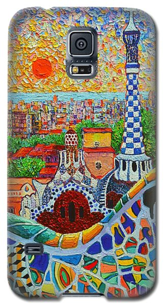 Barcelona Sunrise - Guell Park - Gaudi Tower Galaxy S5 Case by Ana Maria Edulescu