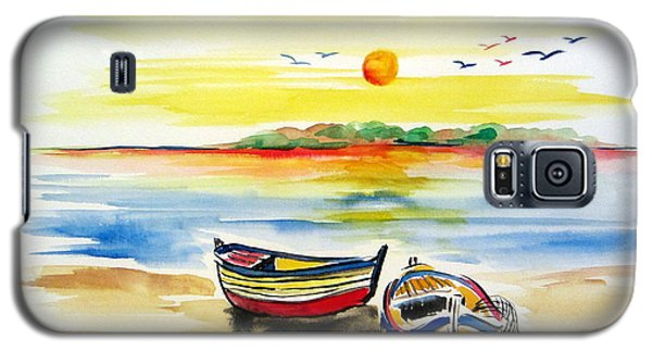 Galaxy S5 Case featuring the painting Barchette In The Sunset by Roberto Gagliardi