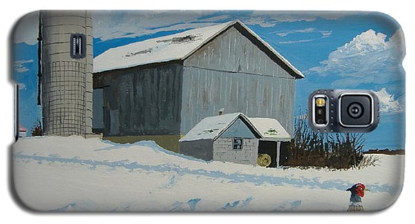 Galaxy S5 Case featuring the painting Barn And Pheasant by Norm Starks