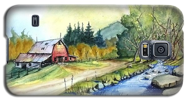 Galaxy S5 Case featuring the painting Barn And Stream by Richard Benson
