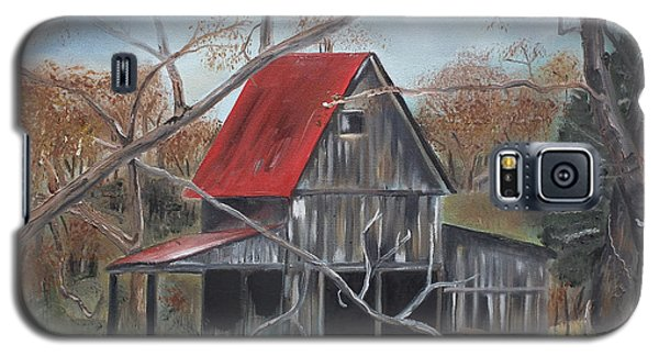 Galaxy S5 Case featuring the painting Barn - Red Roof - Autumn by Jan Dappen