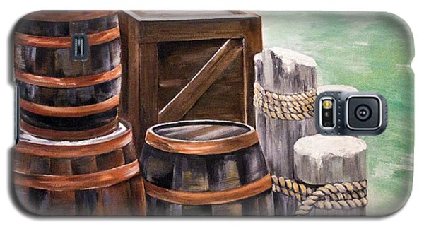 Galaxy S5 Case featuring the painting Barrels On The Pier by Ellen Canfield