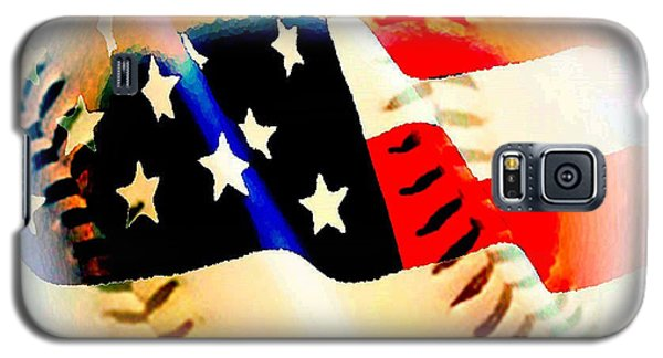 Baseball And American Flag Galaxy S5 Case by Annie Zeno