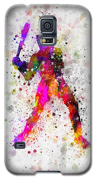 Softball Galaxy S5 Case - Baseball Player - Holding Baseball Bat by Aged Pixel