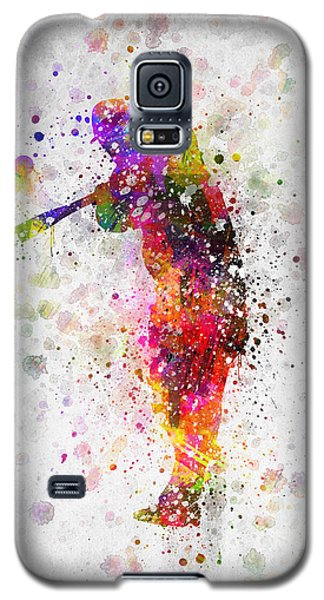 Baseball Player - Taking A Swing Galaxy S5 Case by Aged Pixel