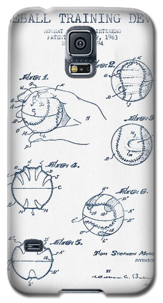 Baseball Training Device Patent Drawing From 1963 - Blue Ink Galaxy S5 Case by Aged Pixel