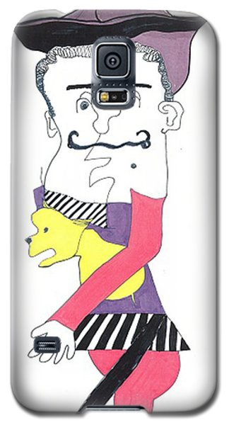 Galaxy S5 Case featuring the drawing Basque Man With Dog by Don Koester