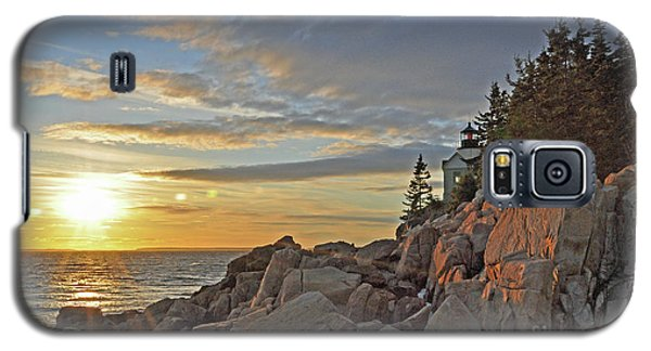 Galaxy S5 Case featuring the photograph Bass Harbor Lighthouse Sunset Landscape by Glenn Gordon
