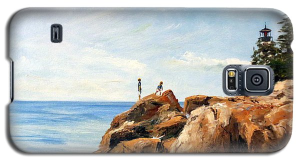 Galaxy S5 Case featuring the painting Bass Harbor Rocks by Lee Piper