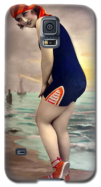 Bathing Beauty In Orange And Navy Bathing Suit Galaxy S5 Case