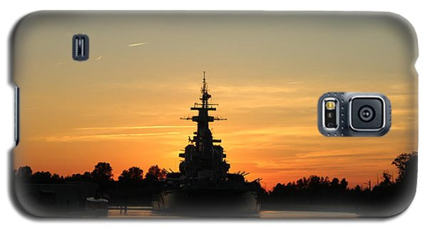 Galaxy S5 Case featuring the photograph Battleship At Sunset by Cynthia Guinn