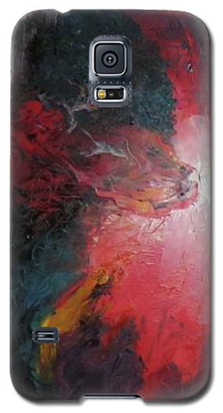 Galaxy S5 Case featuring the painting Bayley - Exploding Star Nebuli by Carrie Maurer
