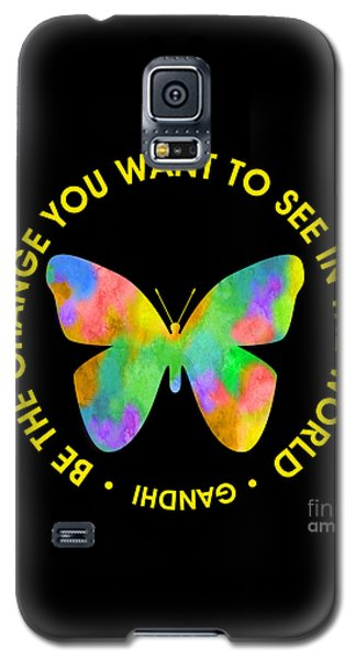 Be The Change - Butterfly In Circle Galaxy S5 Case by Ginny Gaura