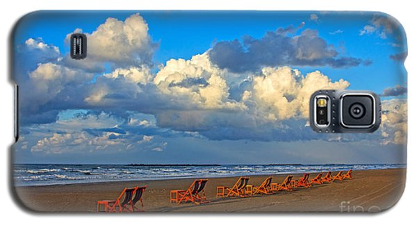 Galaxy S5 Case featuring the photograph Beach And Chairs With Cloudy Sky by Mohamed Elkhamisy