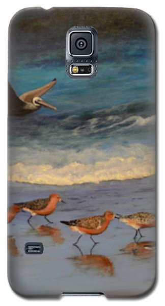 Galaxy S5 Case featuring the painting Beach Birds by Catherine Hamill