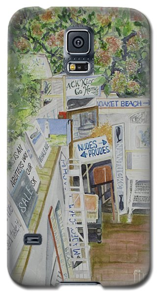 Galaxy S5 Case featuring the painting Beach Signs by Carol Flagg