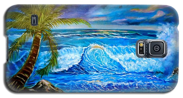 Galaxy S5 Case featuring the painting Beach Sunset In Hawaii by Jenny Lee