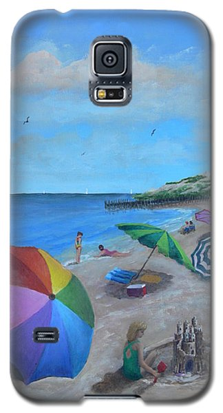Galaxy S5 Case featuring the painting Beach Umbrellas by Catherine Hamill