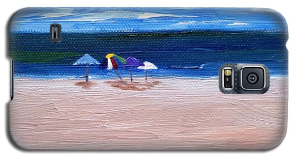 Galaxy S5 Case featuring the painting Beach Umbrellas by Jamie Frier