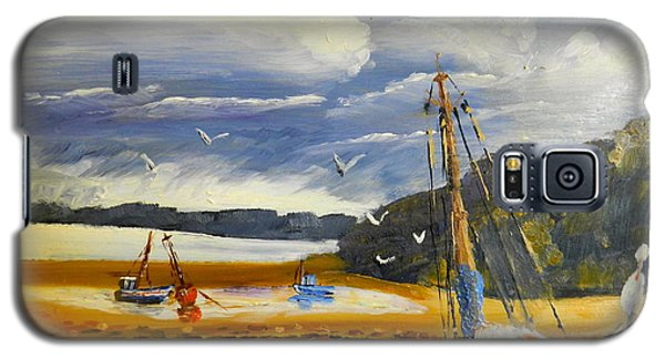 Galaxy S5 Case featuring the painting Beached Boat And Fishing Boat At Gippsland Lake by Pamela  Meredith
