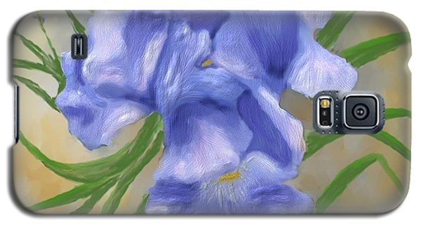 Bearded Iris Blue Iris Floral  Galaxy S5 Case by Judy Filarecki