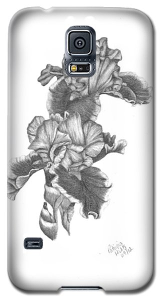 Galaxy S5 Case featuring the drawing Bearded Irises by Patricia Hiltz