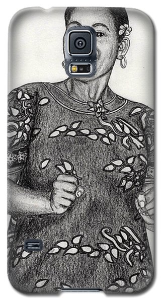 Galaxy S5 Case featuring the drawing Beat Woman by Lew Davis